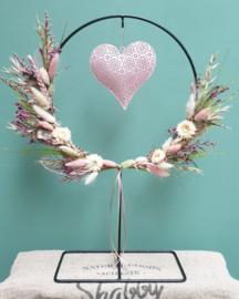 Ring op standaard Roze/Groen + Roze hart