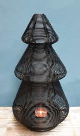 Kerstboom theelichthouder Zwart 30 cm