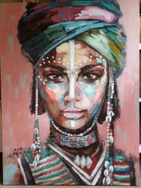 Handpainting Lady on canvas 90 x 120 cm