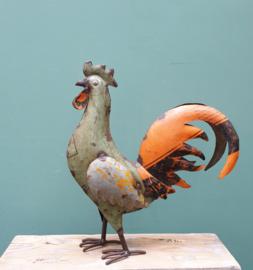 Haan gerecycled blik 33 x 30 cm Groen/Oranje