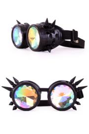 Steampunkbril zwart met spikes