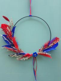 Droogbloemen krans Blauw/Rood 30 cm