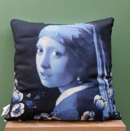 Kussen Meisje met de Parel Delfts Blauw