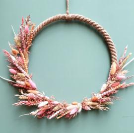 Droogbloemen krans Roze/Oranje 38 cm
