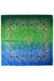 Zakdoek met kleurverloop Groen/Blauw