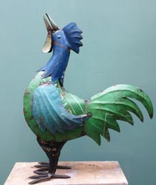 Haan gerecycled blik 55 x 45 cm Groen/Blauw