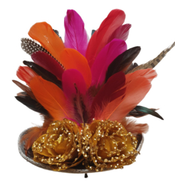 Opgemaakte hoed Fucshia/Oranje/Rood