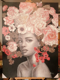 Handpainting Flower Lady on canvas 90 x 120 cm