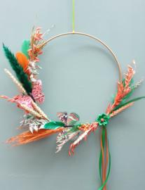 Droogbloemen krans Oranje/Groen 30 cm