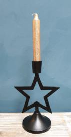 Kandelaar Zwart metaal Ster
