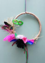 Droogbloemen krans Multi masker 40 cm