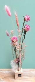 Droogbloemen op standaard S Roze