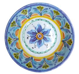 Melamine kom rond Bloem blauw 19 cm
