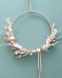 Droogbloemen krans Naturel/Wit 38 cm