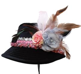 Boerenbruiloft hoedje Zwart/Roze/Zilver