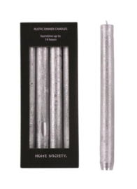 Home Society Rustic Dinner Candles Silver L 4 stuks