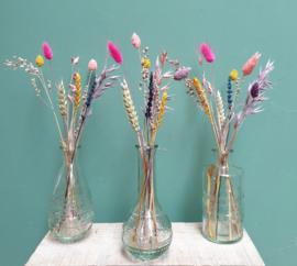 Set van 3 glazen vaasjes met droogbloemen