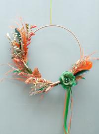 Droogbloemen krans Groen/Oranje 30 cm