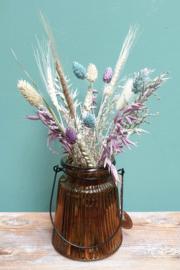 Bruin vaasje met droogbloemen Lila/Blauw