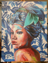 Handpainting Lady on canvas Blue 90 x 120 cm