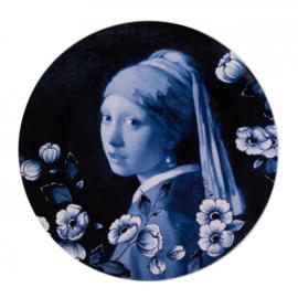 Bord Meisje met de Parel Delfts Blauw