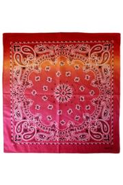 Zakdoek met kleurverloop Rood/Oranje/Roze