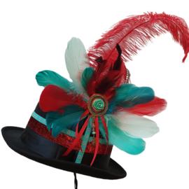 Opgemaakte hoed Aqua/Rood