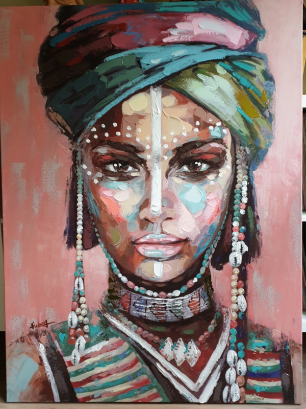 Handpainting Lady on canvas 90 x 120 cm
