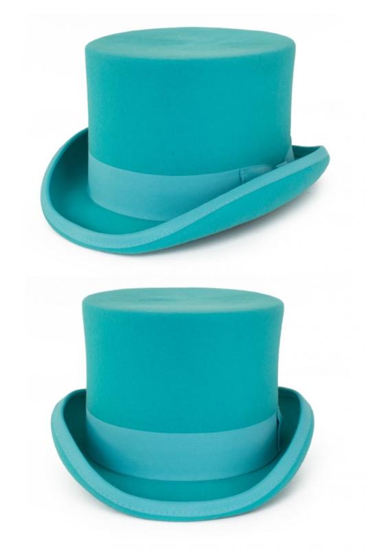 Hoge hoed wol Turquoise