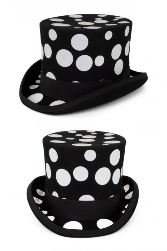 Hoge hoed wol Bollen Zwart/Wit