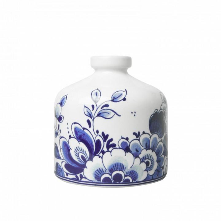 Vaasje Delfts Blauw rond bloem 12 x 12 cm
