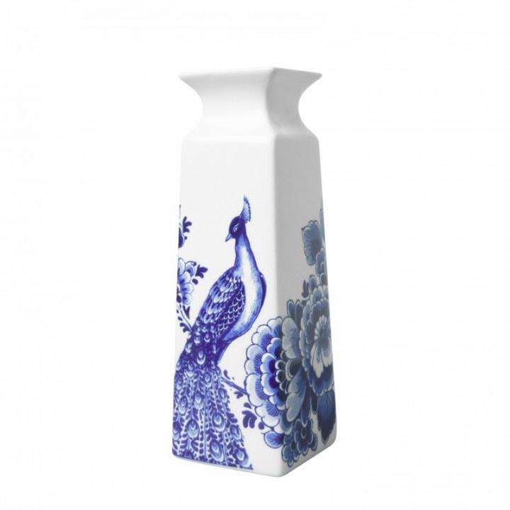 Vaasje Delfts Blauw bloem & pauw vierkant groot 22 cm