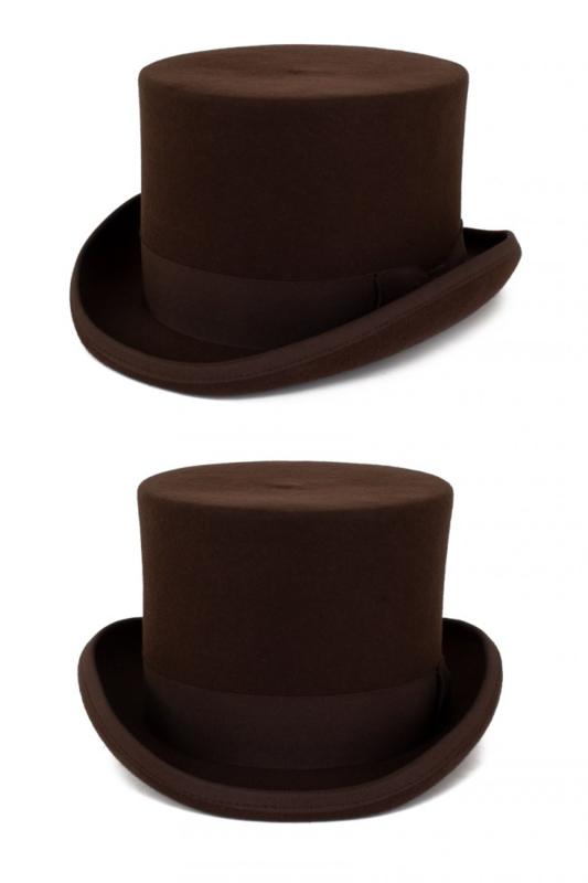 Hoge hoed wol Bruin