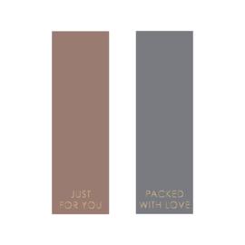 Sticker label - terra en grijs