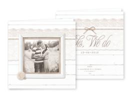PST01 Trouwkaart - WOOD & LACE