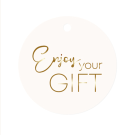 Rond label Enjoy your gift - wit