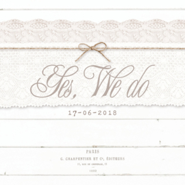 PST01 Trouwkaart - WOOD & LACE