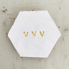 Tegeltje tegeltje aan de wand - 3 hartjes goud op wit