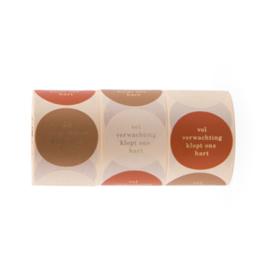Sticker  vol verwachting klopt ons hart - beige, oranje, bruin
