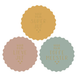 Sticker juf/meester - geel, roze en groen