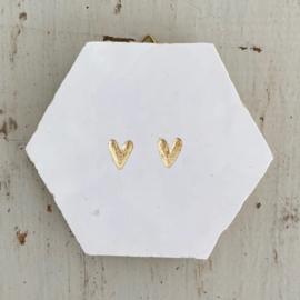 Tegeltje tegeltje aan de wand - 2 hartjes goud op wit