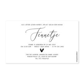 Geboortekaartje Fenne
