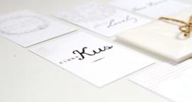 Set van 6 minikaartjes met pergamijn envelopjes