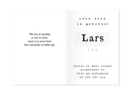 Geboortekaartje Lars