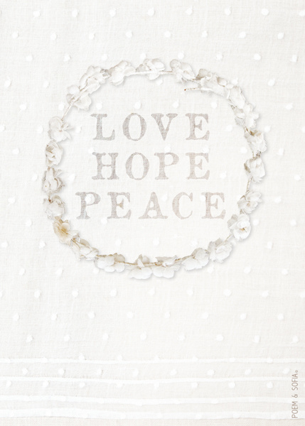 Wenskaart Love Hope Peace - A5