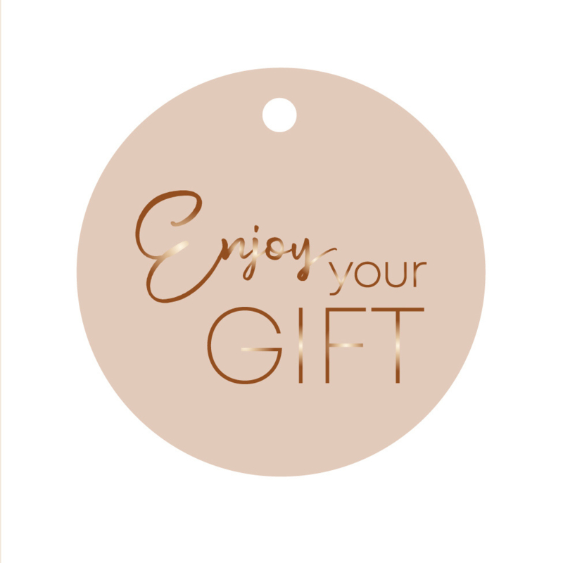Rond label Enjoy your gift - nude