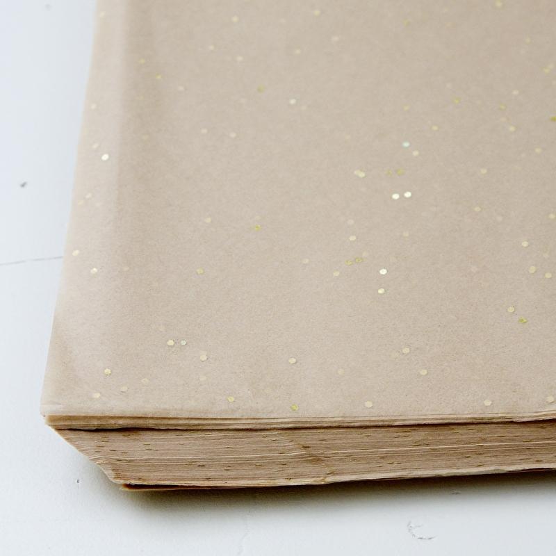 Vloeipapier zandkleurig met goud stip