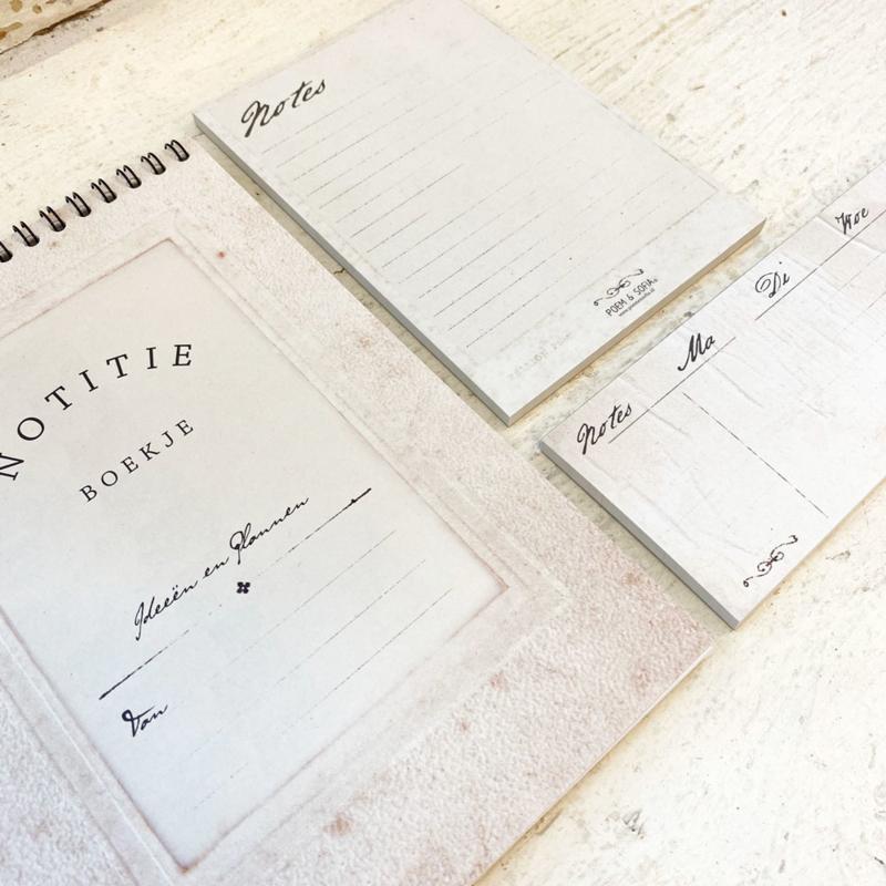 Set van 3 - noteblock, bureauplanner en notitieboekje