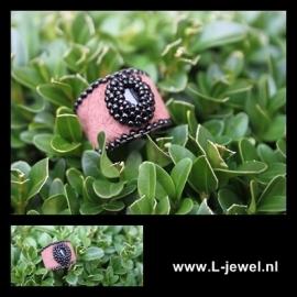 Beadwork ring brown