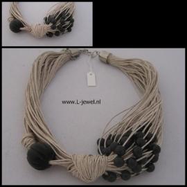 Hennepkoord zwarte kralen